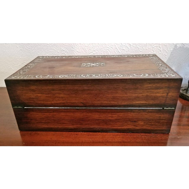 19c British Rosewood Campaign Writing Slope For Sale - Image 4 of 11