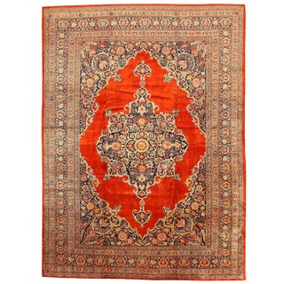 Antique Persian Silk Tabriz Rug - 10′8″ × 14′6″ For Sale