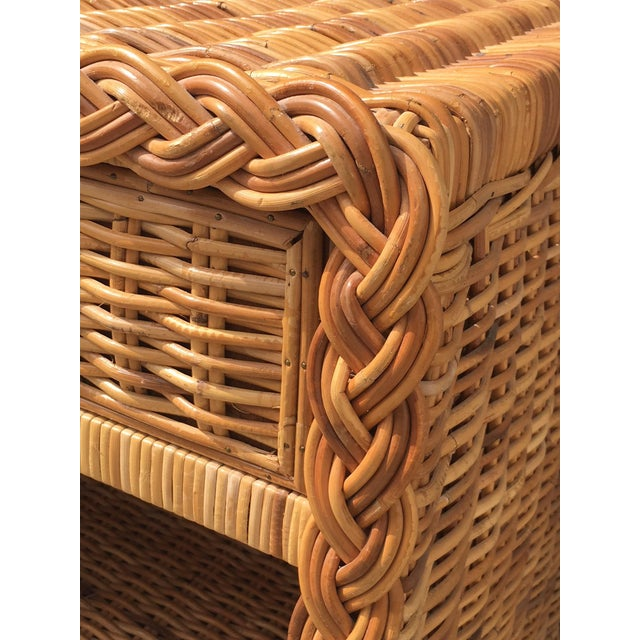 Campaign 1970s Wicker Works Rattan Campaign Style Nightstands-a Pair For Sale - Image 3 of 7