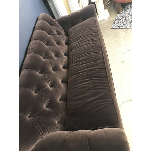 2010s Mocha Brown Velvet Tufted Chesterfield With Fringe by Century Furniture For Sale - Image 5 of 13