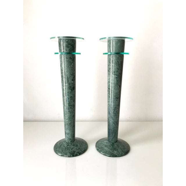 Post Modern Green Marble and Lucite Candlestick Holders - a Pair For Sale In Los Angeles - Image 6 of 6