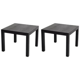 Black Alligator Embossed Leather End Tables - a Pair For Sale