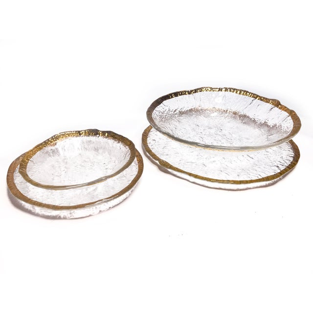 Contemporary Vintage 1950's Ivv Glacier Ice Art Glass Plates - Set of 4 For Sale - Image 3 of 6