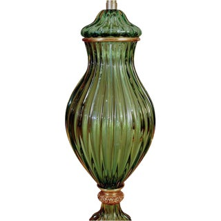 Marbro Murano Glass Table Lamp Green For Sale