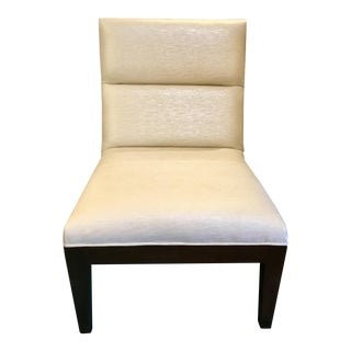 Custom Pearl Vinyl Upholstered Mahagony Slipper Chair For Sale