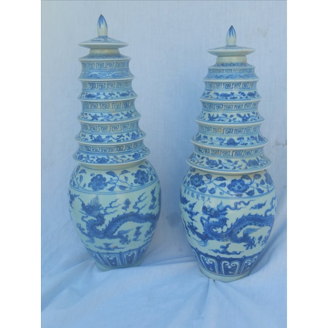 Chinese Blue & White Pagoda Temple Vases - A Pair - Image 2 of 7