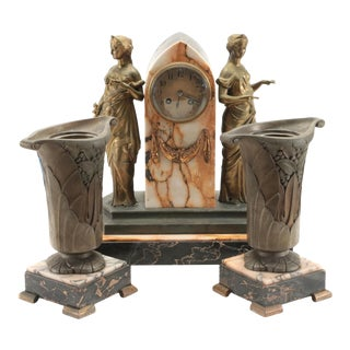 Late 19th Century French Art Nouveau Marble Clock Garniture - 3 Pieces For Sale