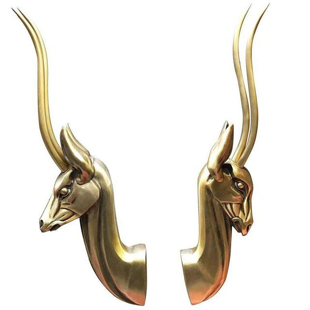 1960s Modernist Anodized Aluminium Gazelle Wall Sculpture Pair by Pendergast For Sale - Image 5 of 5