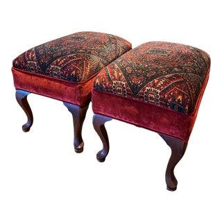 1940s Vintage Paisley Ottomans - A Pair For Sale