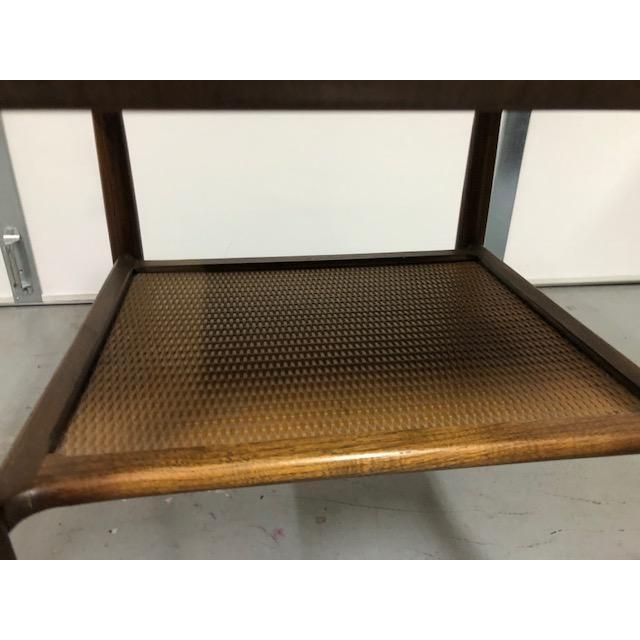 Danish Modern Mid Century Walnut Wicker Shelf Side Table For Sale - Image 3 of 6