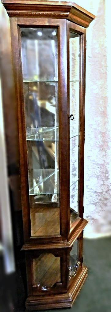 Vintage 3 Sided Curio Display Cabinet   Image 2 Of 5