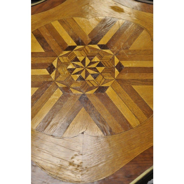 Brown Louis XV French Style Repro Marquetry Inlay Bronze Figure Side Tables - a Pair For Sale - Image 8 of 13