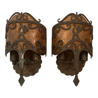 Gothic Style Iron and Mica Wall Sconces -A Pair For Sale