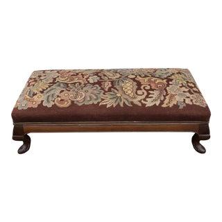 Antique Victorian Needlepoint Bench Floral Design Walnut For Sale