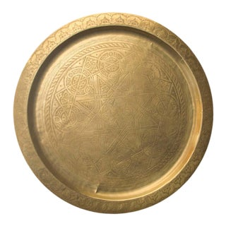 Moroccan Polished Brass Tray For Sale