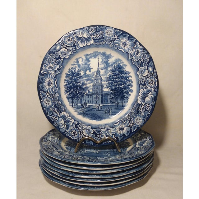 "Staffordshire ""Independence Hall"" Dinner Plates - Set of 6 For Sale - Image 9 of 9"