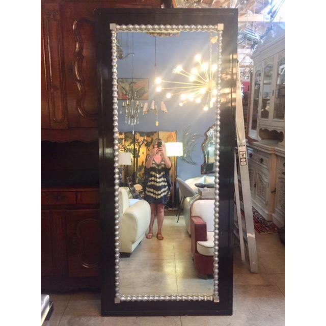 1960s Vintage Black & Silver Leaf Mirror For Sale In Los Angeles - Image 6 of 8