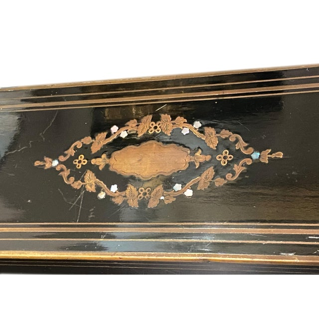 19th Century Napoleon III Ebonized Box With Mother of Pearl Inlay For Sale - Image 5 of 7