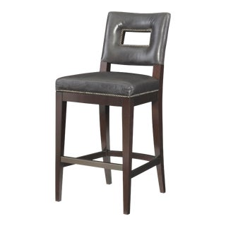 Century Furniture Campe Bar Stool, Gunmetal Leather For Sale