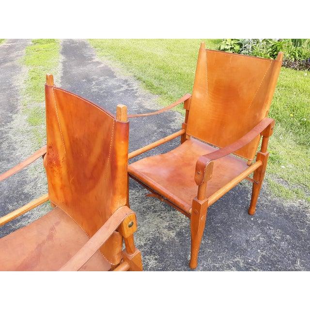 Mid-Century Modern Vintage Mid Century Wilhelm Kienzle for Wohnbedarf Style Safari Chairs- a Pair For Sale - Image 3 of 11