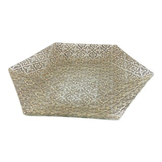 Vintage Glass Gold Overlay Hexagon Serving Plate For Sale