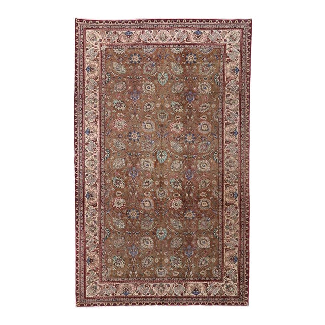 Vintage Persian Tabriz Gallery Rug with Arabesque Art Nouveau Style For Sale