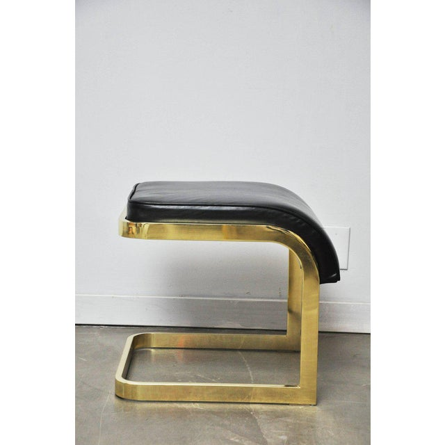 DIA - Design Institute America Brass and Leather Stools by DIA For Sale - Image 4 of 10