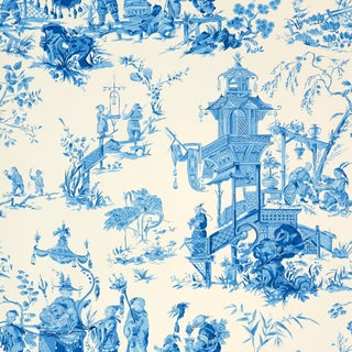 Sample - Schumacher Chinois Wallpaper in China Blue For Sale