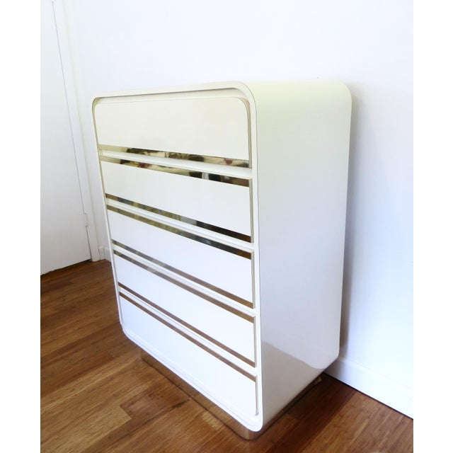 Brass & Lacquer Waterfall Dresser - Image 5 of 8