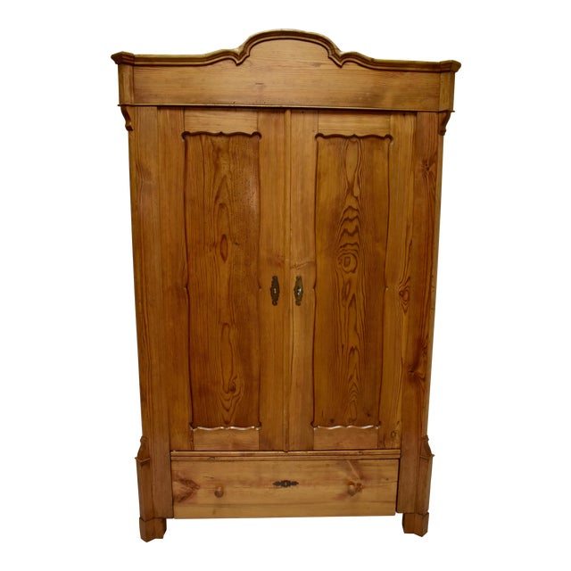 Pitch Pine Bonnet Top Two Door Armoire For Sale