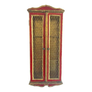Vintage Florentine Wall Hung Cabinet -Wooden Carved in Red/Gold Aged Finish For Sale