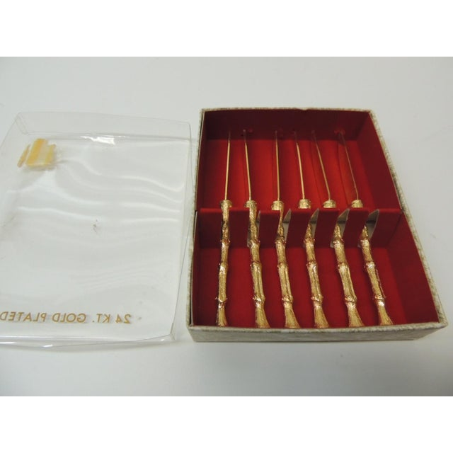 1980s Set of Six Faux Bamboo Gold Plated Vintage Spreading Knives For Sale - Image 5 of 6