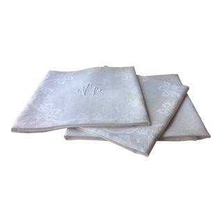 Antique French Linen Napkins - Set of 3 For Sale