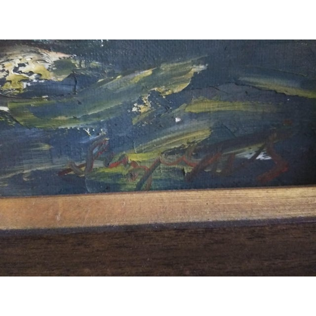 "Mid-Century Modern Mid-Century Modern Original ""Sail Boat Race"" Oil on Canvas Painting For Sale - Image 3 of 6"