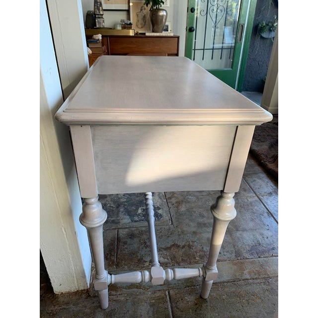 Petitie vanity or desk, Victorian Style, perfect for a childs room. Rifinished in a grey wash.