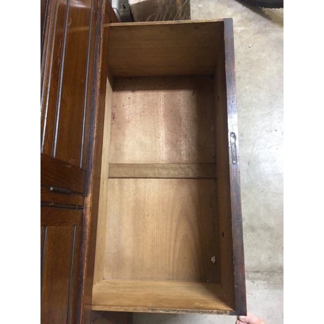 Bath Cabinet Makers 1928 Oak Art Deco Armoire For Sale - Image 6 of 6