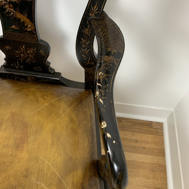 Black Japanned Chinoiserie Queen Anne Arm Chair For Sale In Memphis - Image 6 of 13