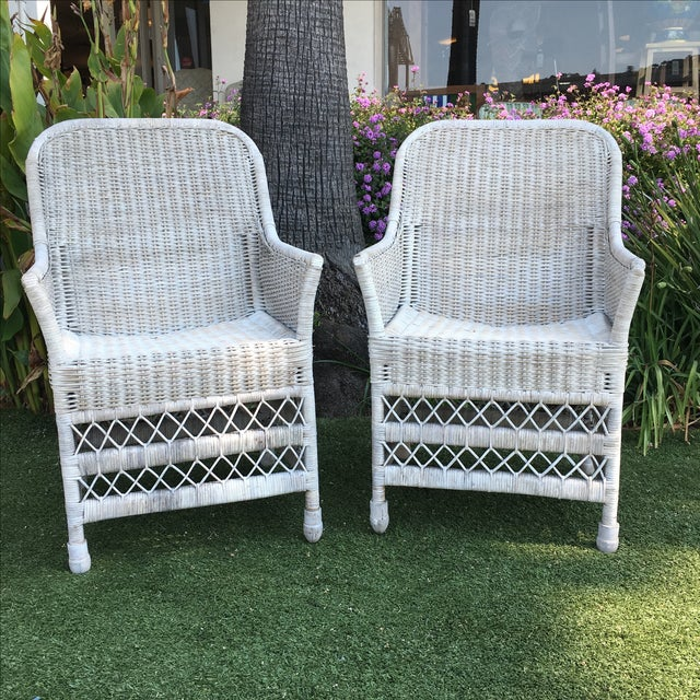 Shabby Chic White Wicker Chairs - a Pair - Image 2 of 7