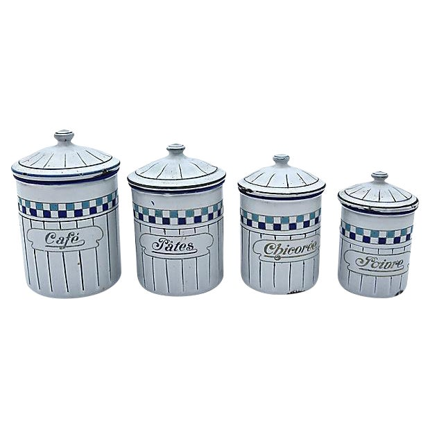 French Enamel Kitchen Canisters - Set of 4 For Sale