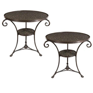 Pair of French Art Deco Directoire Style Bronze and Granite Gueridon Tables For Sale