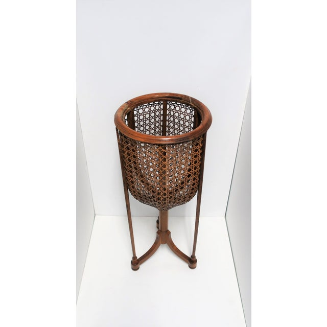 Vintage Wicker Cane Plant Stand For Sale - Image 4 of 13