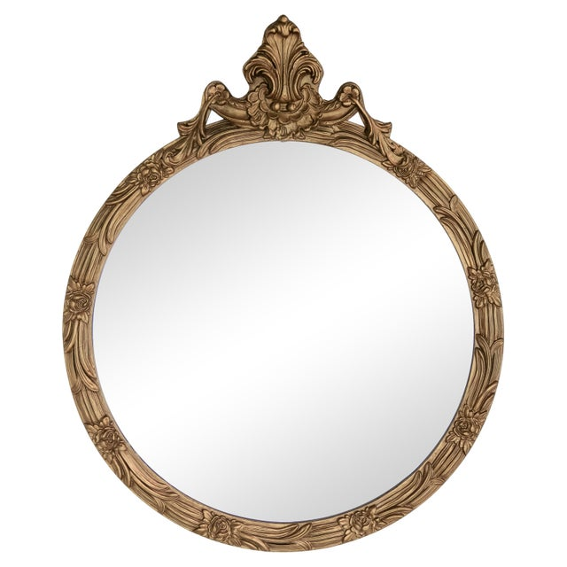 Gold Round Giltwood Mirror With Acanthus Crest For Sale - Image 8 of 10