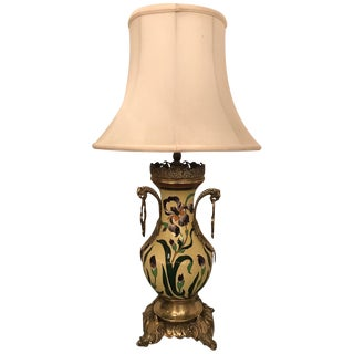 French Hand-Painted Faience & Bronze Urn Table Lamp For Sale