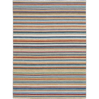 Elana Striped Camel Flat-Weave Rug 5'x8' For Sale