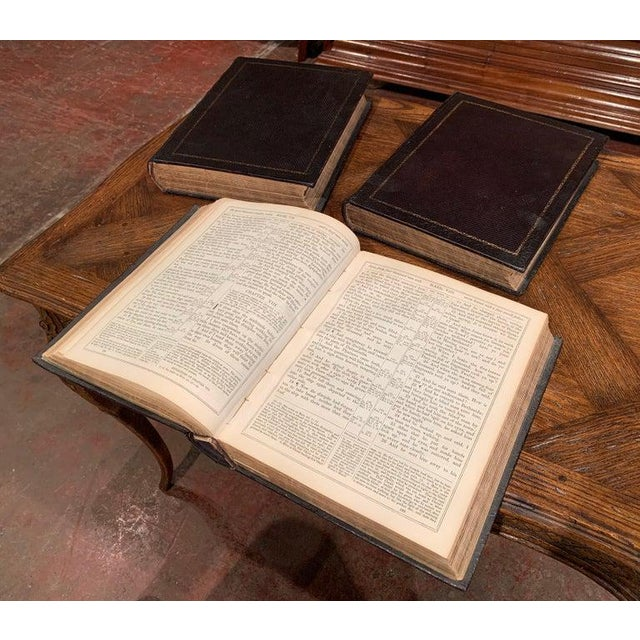 19th Century English Leather Bound and Gilt Holy Family Bible - 3 Volume Set For Sale In Dallas - Image 6 of 7
