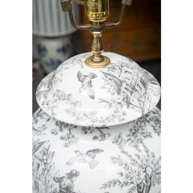 Black and White French Toile Motif Lamp For Sale In West Palm - Image 6 of 8