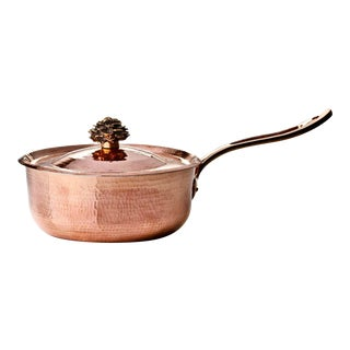 Amoretti Brothers Handmade 4.4 Qt Sauce Pan with Flower Lid For Sale