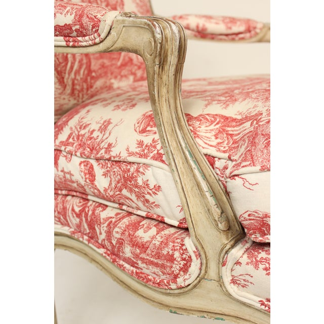 1930s Louis XV Provincial Painted Armchair For Sale - Image 10 of 13