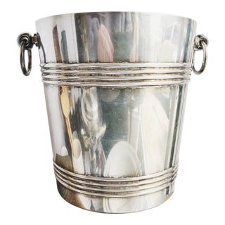 Vintage 1960s Christofle Silver Plated Champagne Bucket For Sale