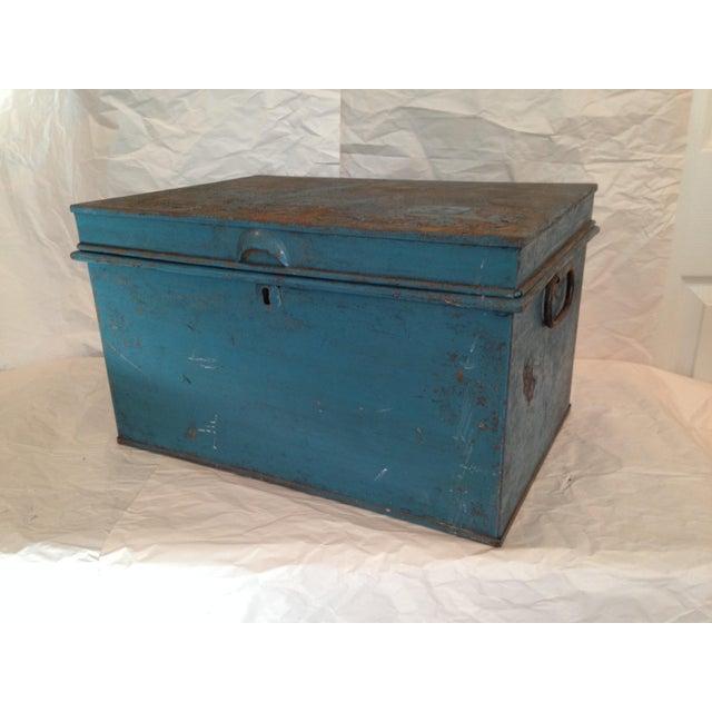 Vintage Metal Locking Box - Image 6 of 8